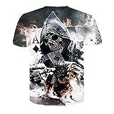 LOVE-HOME Männer T-Shirt Poker Digital Print Kurzarm Rundhals Schlanke Paar Basis,S