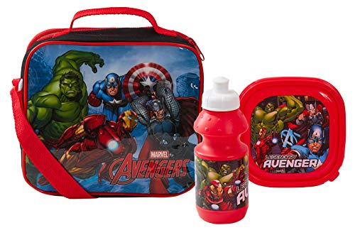 Marvel Avengers Lunch-Set, Lunchtasche + Sandwich-Box + Sportflasche, 3-teilig, Marvel Avengers, One size
