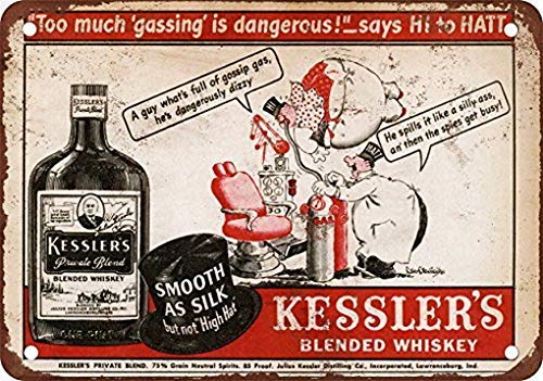 HNNT Metal Tin Sign 8x12 inches Kessler\'s Blended Whiskey Vintage Look Reproduction Metal Tin Sign