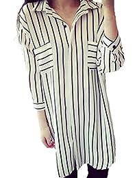 73dcfff23692c ZANZEA Women s Turndown Collar Loose Striped Long Tops Blouse Shirt Dress