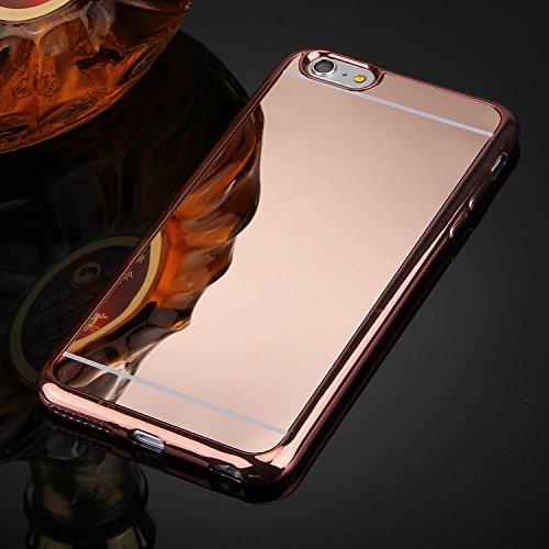 [ Spiegel Hülle für iPhone 6 aus weichem Silikon ] Soft Case Mirror Effect Schutzhülle | Luxus Spiegelhülle glänzend | Handy Cover spiegelnd | Movoja® | rose gold Spiegelhülle Rose Gold