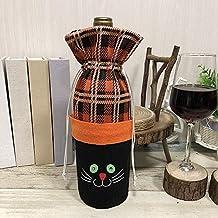 Fenghong Wine Bottle Cove, Set de Botellas de Vino de Halloween Festive Red Wine Bag Style # 2, Gato Negro Sombrero de Vino Tinto Champagne Cover Práctico ...