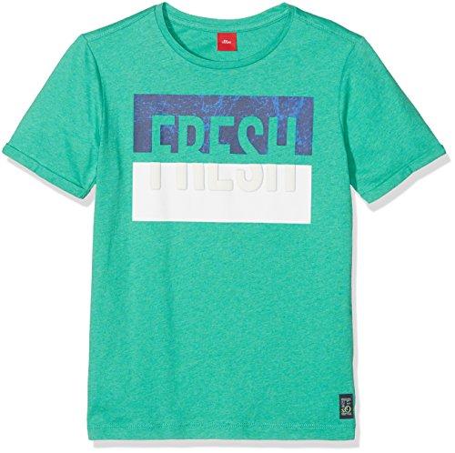 s.Oliver Jungen T-Shirt 61.802.32.6078, Grün (Green Melange 73W2), 140 (Herstellergröße: S/reg)