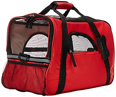 OxGord Airline Approved Pet Carriers w/ Fleece Bed For Dog & Cat - Large, Soft Sided Kennel - 2016 Newly Designed Model, Crimson Red from OxGord