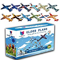 Smilkat Glider Plane Party Favors - 12 New Models 24 Pack 8 inch Flying Styrofoam Airplanes, Easy Assembly, Kids Toy for Birthday Party, School Classroom Rewards Carnival Prizes