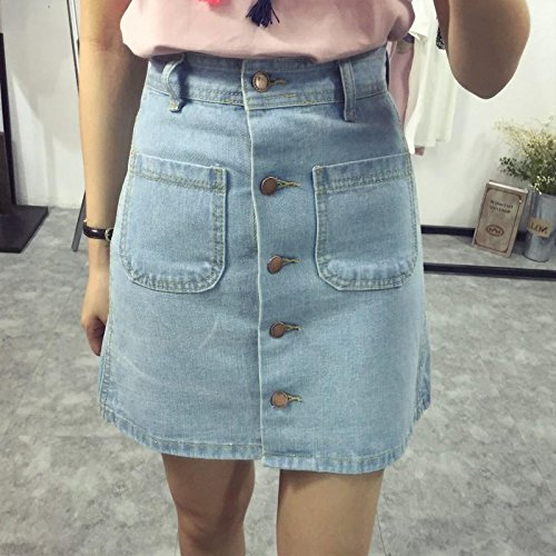 DWWAN Kurzer Rock Mode A-Linie Mini Jeans Rock Single Breast Button Schlanke Taille Denim Röcke Sommer Rock Frauen L Himmelblau -