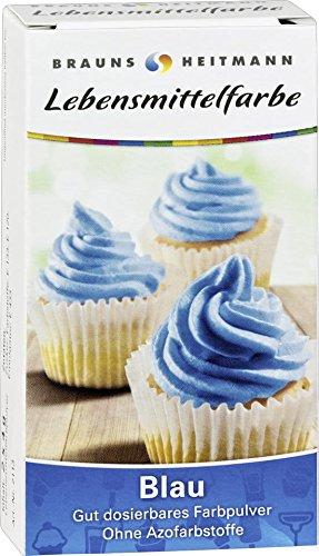 Brauns Heitmann Lebensmittelfarbe in Blau - Farbpulver frei von AZO-Farbstoffen -Lebensmittelfarbpulver zum Verzieren von Backwaren, Füllungen, Cremes, Desserts - geschmacksneutraler Naturfarbstoff