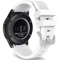 MoKo Armband für Samsung Gear S3 Frontier / Classic / Moto 360 2nd Gen 46mm Watch - Silikon Sportarmband Uhr Band Strap Erstatzband Uhrenarmband für Samsung Gear S3 Classic Samrtwatch, Weiß (Nicht für Gear S2 Classic)