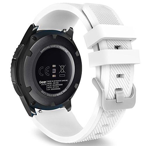 MoKo Gear S3 Frontier / Classic Watch Cinturino, Braccialetto Morbido Sportivo di Ricambio in Silicone per Samsung Gear S3 Frontier / S3 Classic / Moto 360 2nd Gen 46mm Smart Watch, Bianco