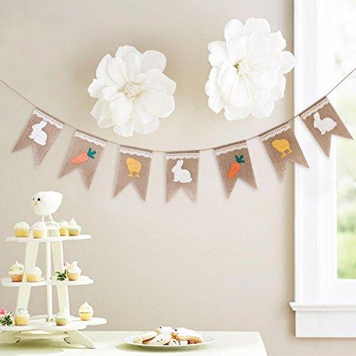 FENICAL Ostern Dekoration Bunny Banner Rabbit Karotte Sackleinen Girlande Banner für Ostern Geburtstag Party Dekoration