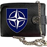 North Atlantic Treaty Organisation NATO image on KLASSEK Brand Men Leather Chain Wallet with Clasp Cap Badge Emblem Military Crest Insignia with Metal Box