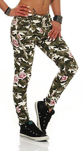11057 Fashion4Young Damen Damen Hose Röhre Baumwollhose Skinny pants camouflage army Camouflage