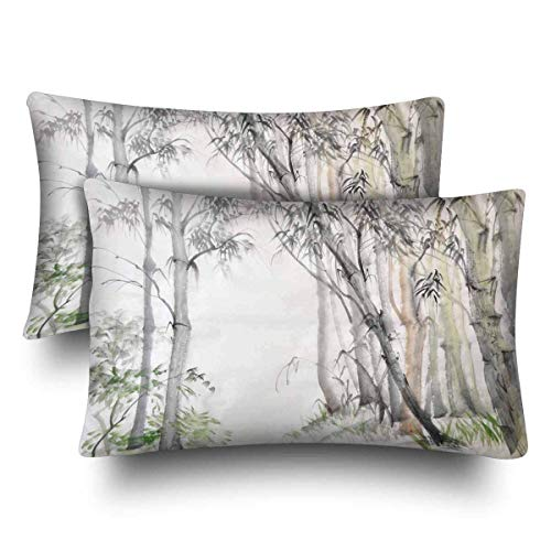 fujianshen Watercolor Painting Bamboo Forest Pillow Cases Pillowcase Standard SizeSet of 2, Rectangle Pillow Covers Protector for Home Couch Sofa Bedding Decorative 50.8x76.2cm -