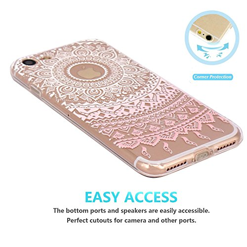Coque iPhone 7 Silicone Étui Housse JIAXIUFEN Transparent Souple TPU Protecteur Coque pour iPhone 7 - Pink Circle Flower Tribal Mandala Mandala-White Pink
