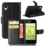 ECENCE Phone Case Cover Wallet Black compatible for Wiko
