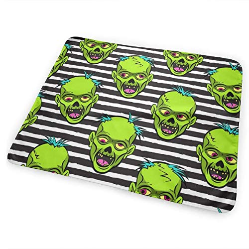 Kotdeqay Zombies Green On Black Stripes Halloween Diaper Changing Pads for Baby Toddler Children and Adults 31.5 X 25.5 inchfor Baby Toddler Children and Adults 31.5 X 25.5 inch