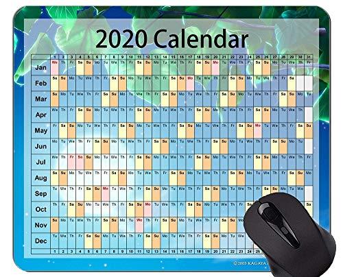 Yanteng Tappetino per Mouse da Gioco Calendario 2020 Personalizzato, Tappetino per Mouse da Ufficio con Foglie a Tema Cielo