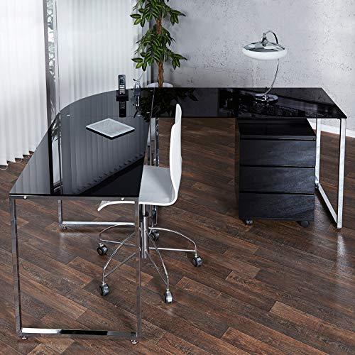 CAGÜ - Design Schreibtisch ECKSCHREIBTISCH [Manhattan] SCHWARZ aus Glas & Chrom 180cm x 160cm, NEU!