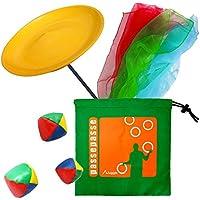 Haciendo malabarismos Spinning Plate Kit 1 con la varita de plástico, 3 bufandas de malabares y 1 juego de 3 bolas malabares con una bolsa de nylon. colores al azar