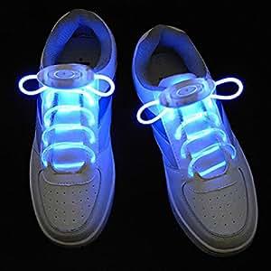 Tinksky LED shoelaces-3-mode LED lumineux clignotant lacets brillants–Une paire (Bleu clair)