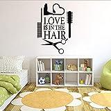 Xqi wangpu Amore Hair Stylist Sticker Decal Asciugatrice Forbici Salon Sign Finestra Moto Camion Paraurti Porta Vinyl Decal Asciugacapelli 41 X 58cm