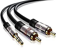 3.5mm to 2 RCA 2m, IBRA 3.5mm to 2 RCA Auxiliary Stereo Y Splitter Audio Cable with Tiny and Metal Connector 2M