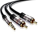 IBRA® Stereo Audio Klinke zu 2x Cinch Kabel [15M] - 3,5mm Klinken Stecker zu 2x RCA Cinch Stecker