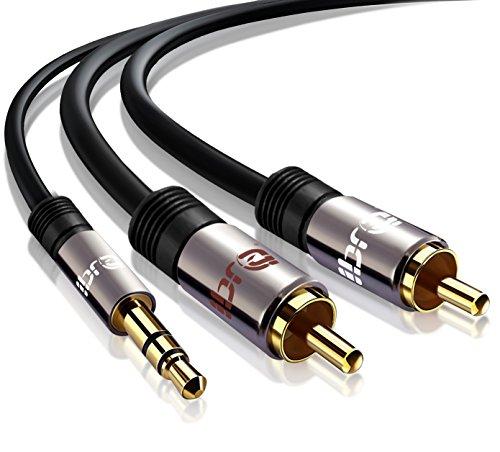 IBRA® Stereo Audio Klinke zu 2x Cinch Kabel [2m] - 3,5mm Klinken Stecker zu 2x RCA Cinch Stecker (Blu-ray-player Iphone)
