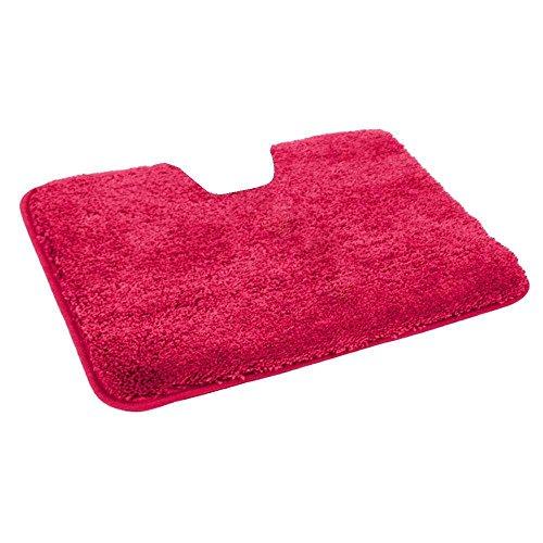 WC-Vorlage / Teppich für Stand-WC, MIT Ausschnitt, Microfaser Vorleger in 50x55 cm in der Farbe rot