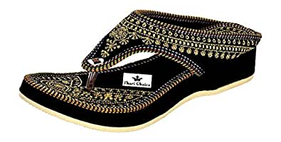 Thari Choice Woman and Girls Ethnic Fashion Sandal Slipper (Pack of 3) (Ind/Uk-3 or (Eu-36), Pack of 1 (Black))………. SKU : SG-BK-36