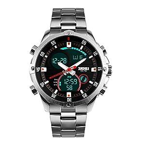 kauo Herren Quarz-Armbanduhr wasserdicht Classic Business Edelstahl Metall Armband Armbanduhr