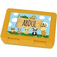Preisvergleich für Brotdose mit Namen Abdul - Motiv Zoo, Lunchbox mit Namen, Frühstücksdose Kunststoff lebensmittelecht