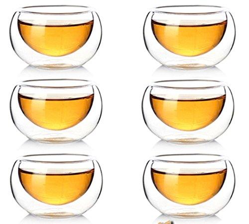 FGF-EU Clair à Double paroi en Verre Tasses à café Isotherme Tasse à thé en Verre résistant à la Chaleur Double Couche Tasse à thé 50 ML Lot de 10