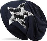 styleBREAKER Beanie Mütze mit Wendepailletten Stern Applikation, Slouch Longbeanie, Damen 04024141, Farbe:Midnight-Blue/Dunkelblau