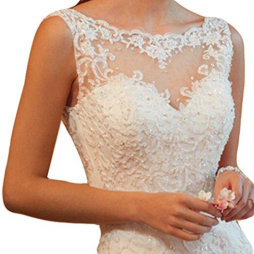 June's Young Femmes Robe de mariage Robe de mariée blanc en lace Sexy Dos Nu Blanc
