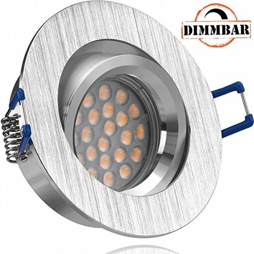 LED Einbaustrahler Set Bicolor (chrom / gebürstet) mit LED GU10 Markenstrahler von LEDANDO - 5W DIMMBAR - warmweiss - 60° Abstrahlwinkel - schwenkbar - 50W Ersatz - A+ - LED Spot 5 Watt - Einbauleuchte LED rund