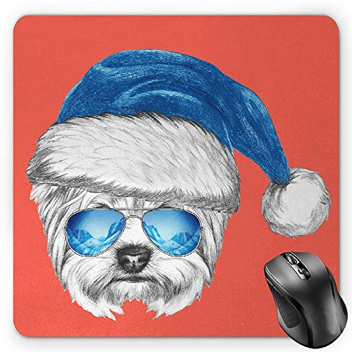BGLKCS Yorkie Mauspads Mouse Pad, Terrier with a Blue Santa Hat and Mirror Aviator Glasses Fun Hand Drawn Animal, Standard Size Rectangle Non-Slip Rubber Mousepad, Coral White Blue