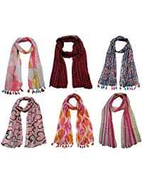 FusFus Women's Poly Cotton Combo Of 6 Scarves (Multicolor_Free Size)
