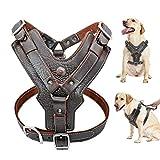 Wishdeal Hundegeschirr aus echtem Leder, langlebig, verstellbar, mit Griff, für K9 Labrador