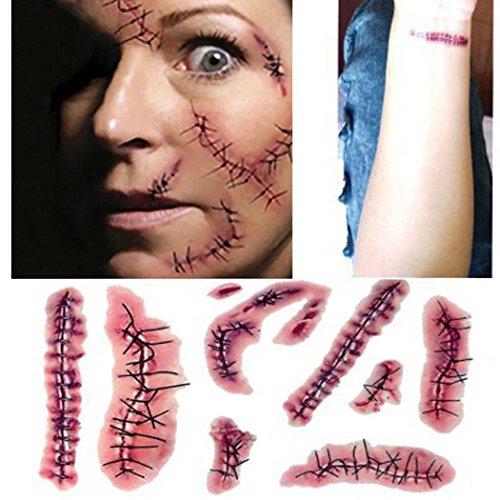 Outgeek Etiqueta Engomada del Tatuaje de Halloween, Impermeable Ambiental Falsa Sangrienta Cicatriz de la Puntada de la Herida Tatuajes Temporales