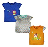 #8: FS Mini Klub Baby Girls' Regular Fit Tees - Pack of 3 (88EGTTS0089 BL18-24M-$P, Multi-Coloured, 18-24 Months)