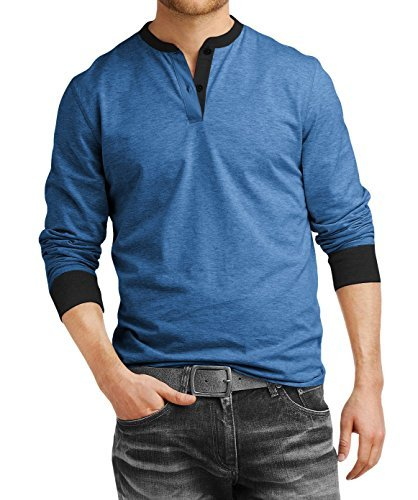 Fanideaz Men's Cotton Henley Full sleeve T Shirts for Men(Premium Royal Blue Henley T-Shirt)_Blue_M