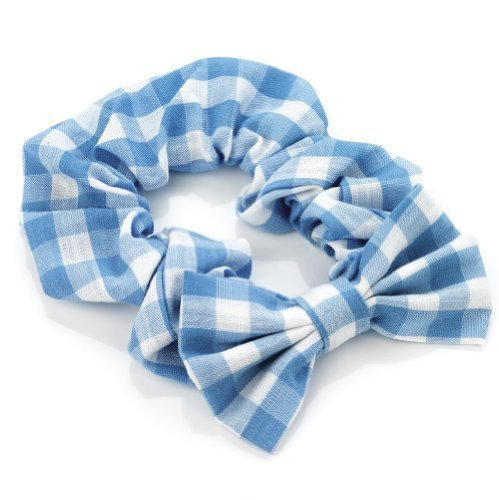Girls Light Blue Gingham Bow Hair Scrunchie AJ28156 by I Heart Fashion ()