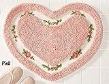 Zeuxs Pretty Pink Floral Rose Herz Form Bad Accent Teppich Fu?matte Decor 1?Stück