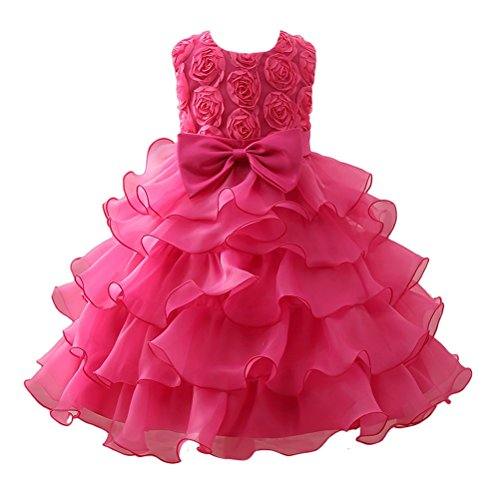 Zhhlinyuan 0-12 Year Old,Mode Baby Girls Sleeveless 3D Flowers Princess Dress Kids Tulle Party Pageant Wedding Bridesmaid Tutu Dresses -
