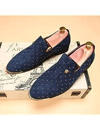 XUE Zapatos de Hombre Cuero Primavera Otoño Comfort Mocasines y Slip-Ons Zapatos de Caminar Flor Para la Boda Fiesta Informal y Noche Negro Azul