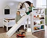 Etagenbett mit Rutsche BENI L Kinderbett Spielbett Bett Weiß Stoff Burg