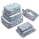 Organizzatori da Viaggio,LOSMILE Organizer Valigie Set di 7, Cubi di Imballaggio Sacchetto di Stoccaggio Perfetto di Viaggio Dei Bagagli Organizzatore.(Blu-Fiore)