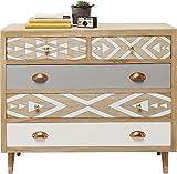 Kare Design Kommode Oase, modernes Sideboard mit weißer und grauer Schubladenfront und geometrischen Mustern, Hellbraun (H/B/T) 80x90x40cm