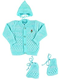 New Born Baby Woolen Knitted Baby Set (3Pcs Suit)